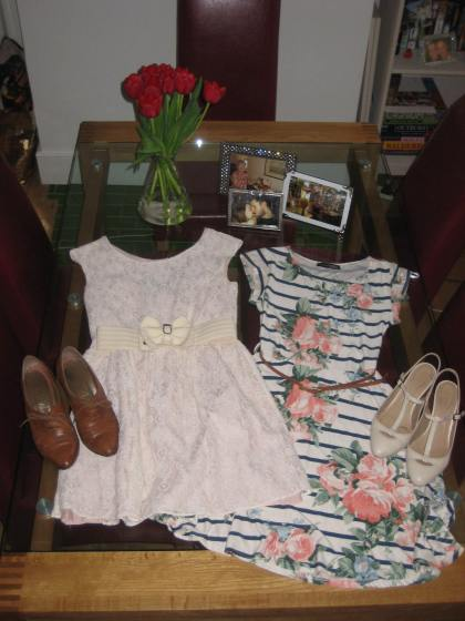 Dresses from Primark. Shoes from (left) Camden market and (right) Accessorize