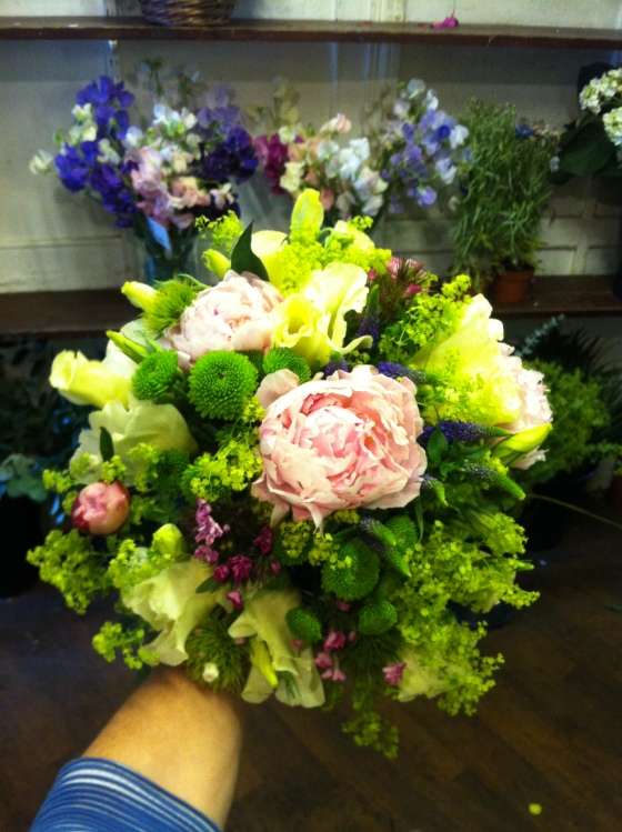 Hand tied with peonies made at Bartleys in Dulwich Village