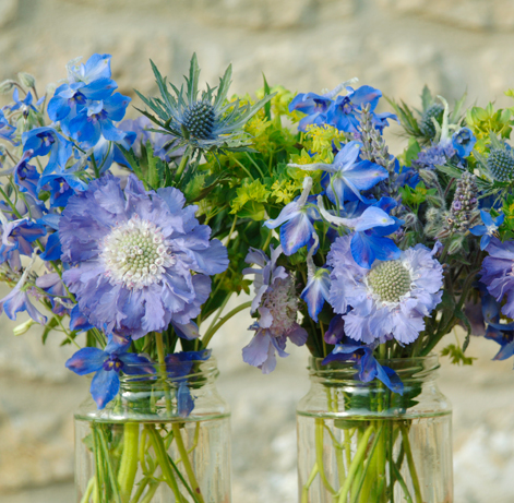Scabious jam jar display by Nicky Llewelyn
